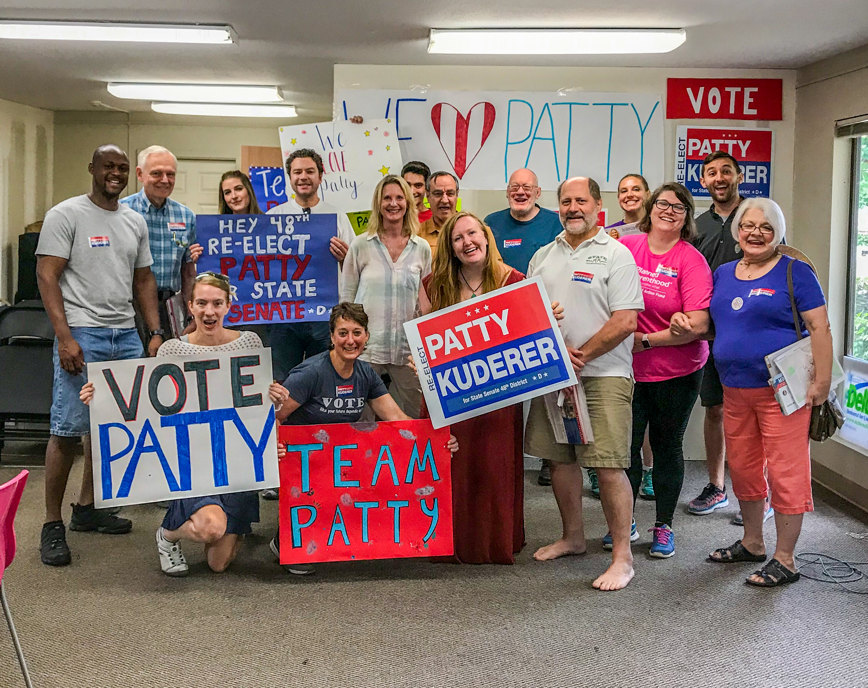 Fuse staff, board members, and volunteers canvassing for Sen. Patty Kuderer