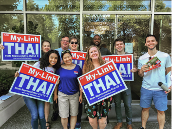 Fuse members getting ready to canvas for My-Linh Thai for the August Primary